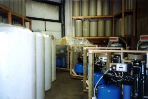 Skid mounted, multiple reverse osmosis systems ready for shipment